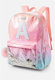 Find Justice girls Ombre Initial Shaky Backpack pink (Letter M) online. Shop the latest collection of Justice girls Ombre Initial Shaky Backpack pink (Letter M) from the popular stores - all in one Justice Backpacks, Justice Bags, Justice Stuff, Justice School Supplies, Cute School Supplies, Cute Mini Backpacks, Girl Backpacks, School Backpacks, Little Girl Backpack