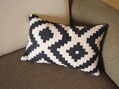 Linen Pillow - black white diamond geometrical Pillow Cover - lumbar Pillow - black piping Throw Pillow Cushion Covers 14 x 22 ,14 x 20 246