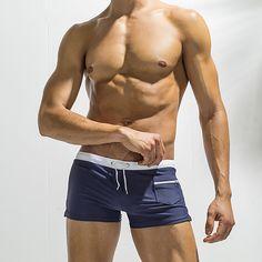 Sexy Swimming Hot Spring Low Waist Zipper Pocket Swim Trunks Beach Shorts  for Men 430662b53