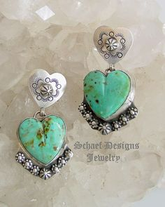 Southwestern Turquoise & Sterling Silver Heart Earrings ~ Schaef Designs