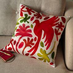 Paulina Reyes Silk Bird Pillow Cover - Pink