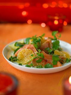 smoked salmon with clementines. This dish is colourful and so Christmassy! Serve with some good wholemeal bread.