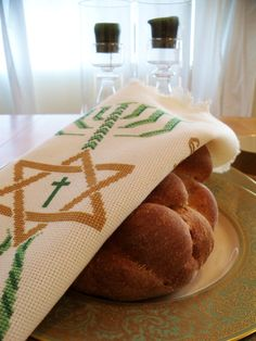 Messianic challah cover for Shabbat