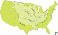 A map of the United States showing the extent of the are drained by the Mississippi River.