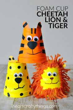 This adorable foam cup tiger craft is really simple to make and kids will love playing with it afterwards. Fun animal crafts for kids, summer kids crafts, zoo crafts for kids, lion craft, cheetah craft, preschool crafts, and crafts made from cups.