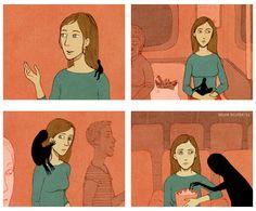 Wenn Du eine Depression hast, dann kannst Du das Gefühl haben, dass sie Dich jederzeit komplett vereinnahmen kann: | 18 Comics, die Dir zeigen, wie sich Depressionen anfühlen