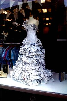 Charity Shop display window in Ballymoney, NI  Paper ballgown