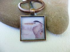 Great Blue Heron Key Ring  with Watercolor by WildArtWatercolors, $20.00