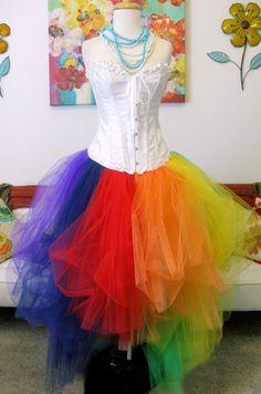 High Fashion Asymmetrical Cut Disheveled Rainbow Dress