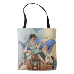 Vintage Flapper Girl in Paris tote bag.