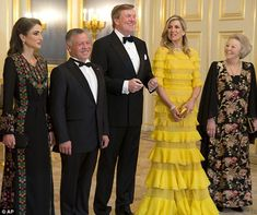 Queen Maxima of the Netherlands (second from right) looked stunning as she hosted a glamo...