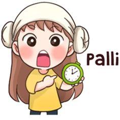 Stickers for K POP I-fans // 빨리 means quickly hurry up Cute Korean Words, Korean Phrases, Anime Korea, Korean Anime, Emoji, Kpop, Korean Expressions, Learn Hangul, Chibi