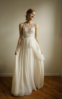 #ivory #silk #chiffon #lace #wedding #gown  $1598