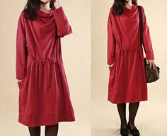Casual Red Cotton Autumn Dress Boat Neck Long Sleeve Stretchy Waist Dresses Day Dress Long Tops Blouse-Clothing For Women-Black & Red Color on Etsy, $56.00