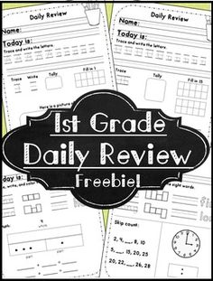 First Grade Daily Review ~ Language and Math - 5 pages of first grade daily review (or morning work)This daily review is great as morning work, a quiet settling activity after recess, or end of the day review.
