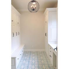Who doesn't love a functional and happy mud room?! I designed this with the oh so necessary lockers, but added a desk right in front of a window that looks out the backyard!  Cement tile makes the room! #lacanada #spechouse #mudroom #cementtile #tiffanyharrisdesign #interiordesign #turquoise
