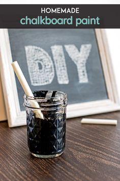 Homemade Chalkboard Paint! Create your own trendy message boards & labels with this recipe for homemade chalkboard paint.