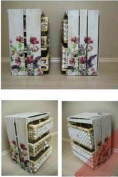 Painted Wood Crates Are Perfect For The Home - Life ideas Pallet Crates, Wood Crates, Recycled Furniture, Painted Furniture, Painted Wood, Rustic Crafts, Shabby Chic Decor, Painting On Wood, Wood Projects