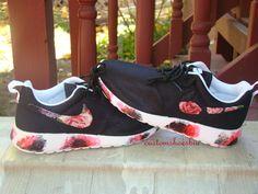 Custom Nike Roshe Run- Floral Nike Roshe Runs with Paint Soles- Women/ Men/Kids
