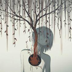 Mysterious Illustrations Of Mental Struggles By Japanese Artist arts Japan 2018 Dark Art Illustrations, Illustration Art, Anime Kunst, Anime Art, Arte Obscura, Deep Art, Sad Art, Sad Anime, Japanese Artists