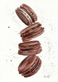 Chocolate Macaroon Watercolor Print – Painting – Chocolate Pastry Wall Decor – Poster Giclee wall pr Schokolade Makronen Aquarell Print – Gemälde – Schokolade Doodle Wandgestaltung – Poster Giclee Wall Print Home Wall Decor – Kinderzimmer drucken Chocolate Macaroons, Chocolate Pastry, Homemade Chocolate, Chocolate Cupcakes, Chocolate Logo, Low Carb Köstlichkeiten, Watercolor Food, Watercolor Print, Dessert Illustration