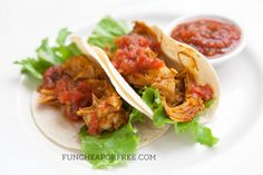 Super simple crock pot chicken tacos! + 3 easy, 10-minute recipes using the SAME leftovers! Includes recipe printable, from FunCheapOrFree.com