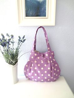 SALE Orchid Dottie Lily Bag by ThePlumPinCushion on Etsy, $38.00
