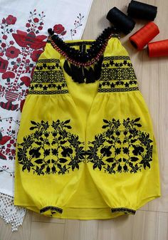 NEW 2016 yellow linen vyshyvanka - Ethnic Ukrainian blouse with floral black embroidery