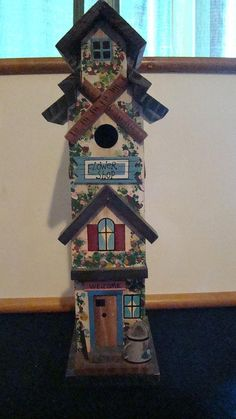 Tall Slender Country Style Birdhouse by ThisNThatCorner on Etsy