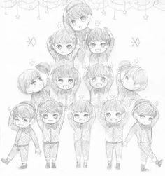 Chibi Exo Miracles in December. Kpop Fanart, Exo Cartoon, Exo Anime, Exo Fan Art, Korean Bands, Easy Drawings, Picsart, Amazing Art, Awesome