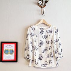 Bicycle print Mathilde blouse sewn by Bonjour Teaspoon in Girl Charlee fabric - sewing pattern from Tilly and the Buttons