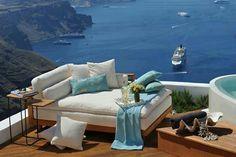 Santorini, Greece!  Wonderful tea setting for relaxation.