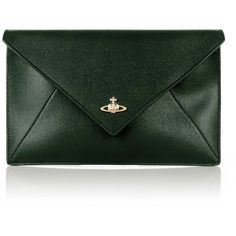 Vivienne Westwood Pouch 52040008 Envelope Clutch (€205) ❤ liked on Polyvore featuring bags, handbags, clutches, green handbags, green envelope clutch, pouch handbag, envelope clutch bag and vivienne westwood purse