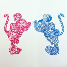 Mickey and Minnie  Pink/Blue