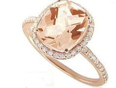 Meira T 14K Rose Gold & Diamonds - Cushion Cut Pink Morganite Center Stone - Right Hand Ring Size 6 http://electmejewellery.com/jewelry/rings/meira-t-14k-rose-gold-diamonds-cushion-cut-pink-morganite-center-stone-right-hand-ring-size-6-com/ #cushioncutring