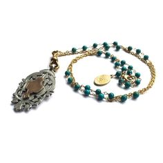 Fribble Pistol turquoise boho necklace with gold filled chain and vintage silver double watch fob pendant...