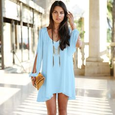 Summer is coming, do you want to get one cool dress? This short dress maybe you good choice. Chiffon material is soft and cool to wear in hot day. Loose and bear shoulder design will all let you feel