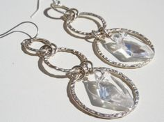 Sterling Silver and Clear Swarovski Crystal Dangle by ElevenDreams, $54.00