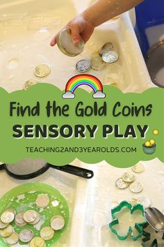 Work on fine motor skills while hunting for gold coins with this St. Patricks' Day sensory activity. There is also science involved as thechildren realize that the goop's consistency changes asthey dig their fingers into it! #stpatricksday #shamrocks #preschool #toddlers #preschoolstpatricksday #sensory #finemotor #toddlerstpatricksday #AGE2 #AGE3 #teaching2and3yearolds