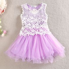 Beautiful Lavender Crochet and Tulle Twirly Dress, 66.7% discount @ PatPat Mom Baby Shopping App