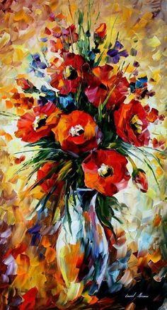 The Gift Of Fall — PALETTE KNIFE Oil Painting On Canvas By Leonid Afremov This painting resembles the colors of the fall. The background is abstract and I love how the colors blend in. Oil Painting Flowers, Oil Painting Abstract, Flower Paintings, Art Paintings, Portrait Paintings, Abstract Flowers, Acrylic Paintings, Abstract City, Abstract Landscape