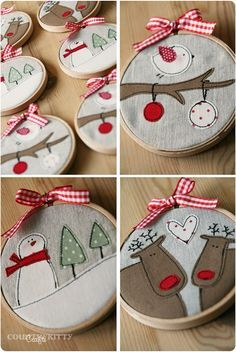 Italian website with super cute embroidery hoop craft - snowman, reindeer and bird in red and white on linen