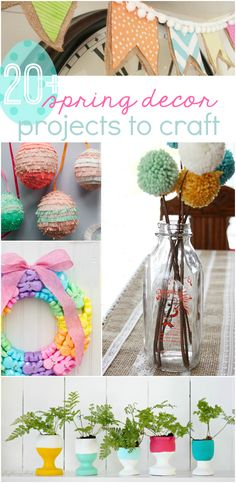 20+ spring decor projects to craft. Lots of fun spring crafts and spring decor ideas! We love spring projects, click through to see how to brighten up your home for spring!