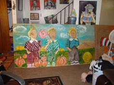 Mural I made for local pumpkin patch in pendelton ny, the owner will be cutting out the food in the faces for photoops