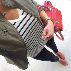 Striped Tee, Olive Express Jacket, Black jeans, cognac peep toe booties, red handbag   On the Daily EXPRESS   Instagram: @ontheDailyX