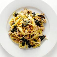 Fettuccine with Pork, Greens, and Beans Recipe
