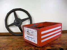 Vintage Metal Box, Mobile Gas Customer Service Record Box, Industrial Box, Mobil Collectibles