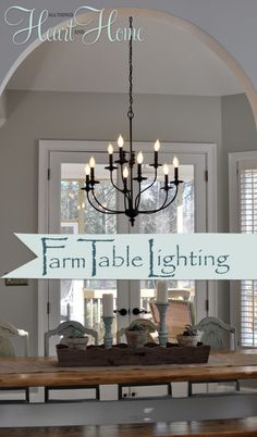 Here they are!!! My top three choices for lighting over the farm table. (If you want to see all the lights in the running they're HERE) Choosing lighting over a table isn't only about what you love, it's also about proportion (to the table and the room). That ruled out the 1st place light. It's …