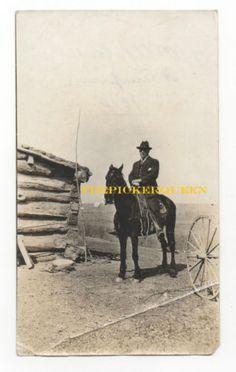 Antique Vintage Photograph~Man Riding Horse~Black Suit~Outside~Farm~Cabin~1910