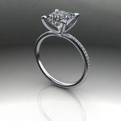 Forever Brilliant Moissanite Square Brilliant and Diamond Engagement R – Bel Viaggio Designs